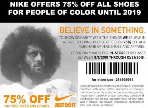 Somebody Made Fake Nike Coupons Featuring Kaepernick – Offering Discounts For 'People of Color'