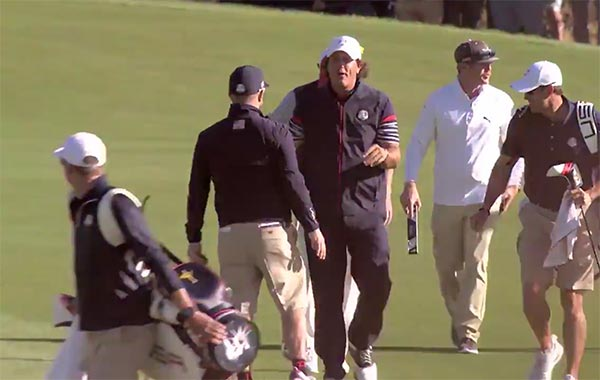 WATCH: Phil Mickelson Hole Out From The Fairway In Ryder Cup Practice