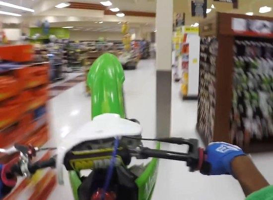 Dirt bike stunt through grocery store gets dimwit arrested