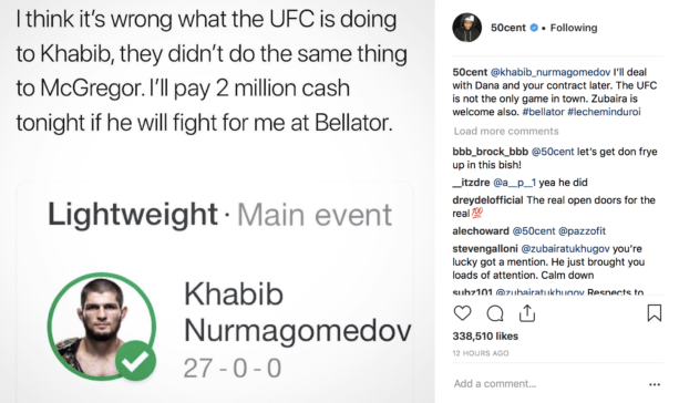 50 Cent Rides For Khabib In Instagram Post and Khabib Reponds