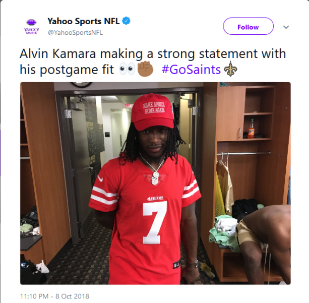 c14962b62 Alvin Kamara Wears  Make Africa Home Again  Hat After Saints Win ...