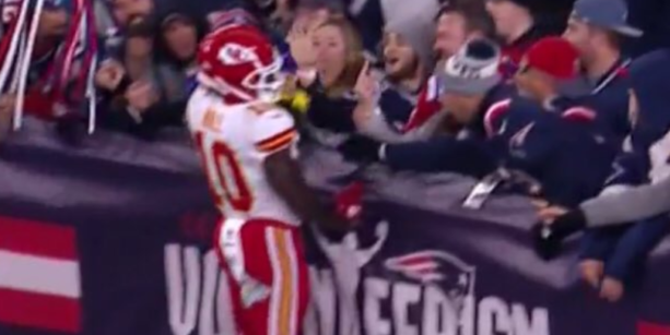 Patriots Fans Throw Beer & Middle Fingers At Tyreek Hill After TD