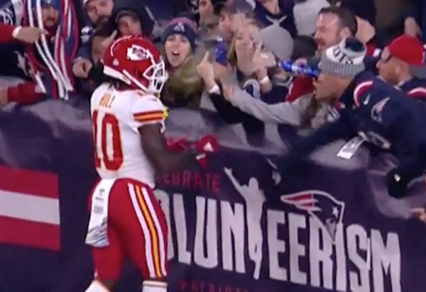 Patriots Permanently Ban Fan Who Threw Beer At Tyreek Hill