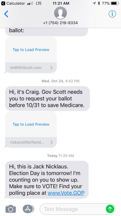 Jack Nicklaus Tells Floridians To Vote In Text Campaign