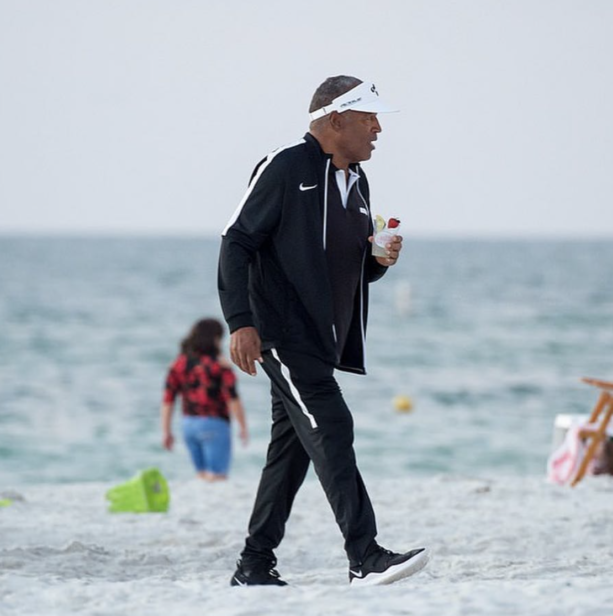 OJ Simpson Spotted With Drink In Hand Walking The Beach In Florida
