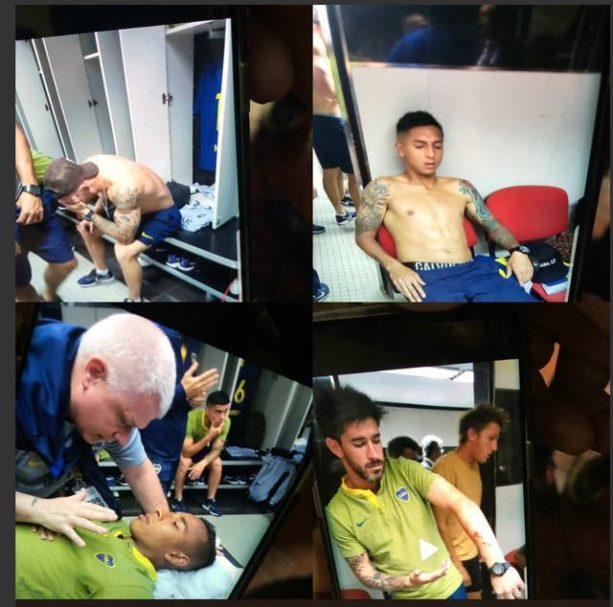 Images of the Boca Juniors players after their bus has been smashed and exposed to pepper spray before their Superclásico got cancelled today in Argentina