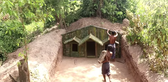 2 Kids Build House Under The Wood Toots Using Bamboo