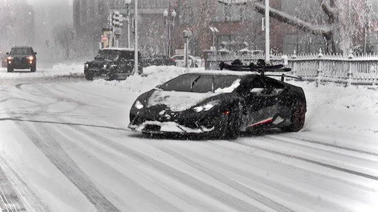 Huracan Performante Drifting in Snow Storm