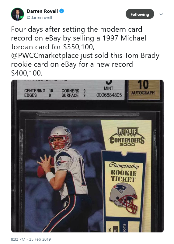 Tom Brady Rookie Card Sells For Record Price On Ebay